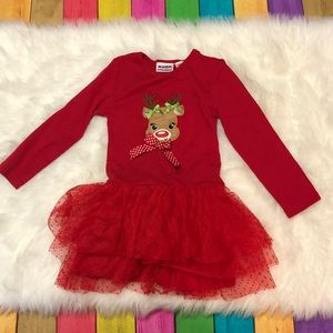 6/6x Reindeer Christmas dress red tutu long sleeve